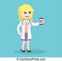 female doctor holding smartphone