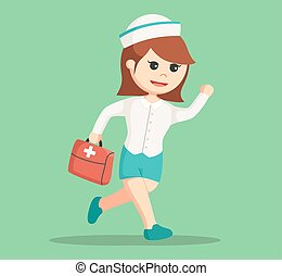 nurse running carrying medical briefcase