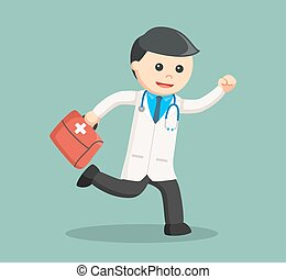 doctor running carrying medical briefcase