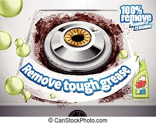remove grease detergent ad, gas stove background, 3d...