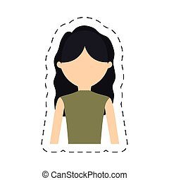 casual woman formal face icon