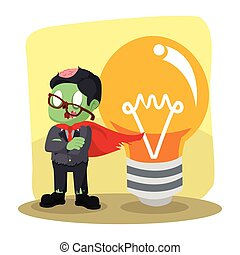zombie businessman heroes with big bulb