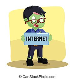 zombie businessman holding internet sign