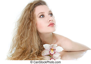 beautiful young woman posing over white