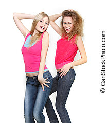 two young beautiful girls over white