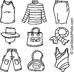 Doodle of clothes accessories collection