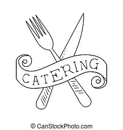 Best Catering Service Hand Drawn Black And White Sign With Crossed Fork And Knife Design Template With Calligraphic Text