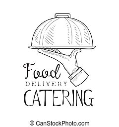 Best Catering Food Delivery Service Hand Drawn Black And...