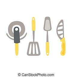 Set Of Kitchen Utensils And Different Knives Primitive Cartoon Icon, Part Of Pizza Cafe Series Of Clipart Illustrations