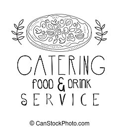 Best Food And Drink Catering Service Hand Drawn Black And...