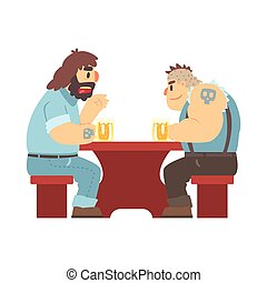 Two Gang Members With Tattooes Talking At The Table, Beer Bar And Criminal Looking Muscly Men Having Good Time Illustration