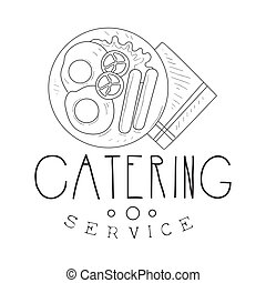 Best Catering Service Hand Drawn Black And White Sign With...