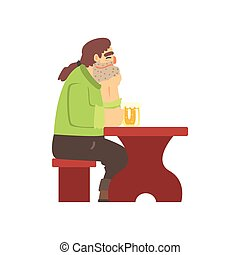 Man With Ponytail Drinking Alone At The Table, Beer Bar And...