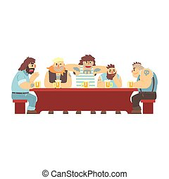 Long Table With Tattoed Gang Having Drinks, Beer Bar And Criminal Looking Muscly Men Having Good Time Illustration