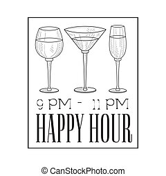 Bar Happy Hour Promotion Sign Design Template Hand Drawn...