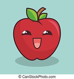 apple fruit character icon vector illustration design