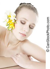 young beautiful woman over white