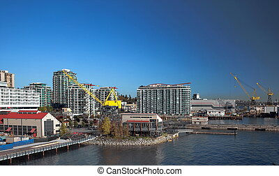 Residential District and port of North Vancouver - City,...