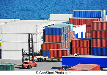 Cargo container in port - Cargo container stack in port of...