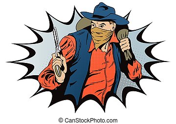 Robber running away with money. Cowboys wild west.
