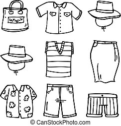 Doodle of women accessories set