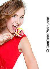 beautiful young woman with big lollipop over white