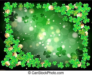 Happy St. Patricks day frame with Shamrock, vector...
