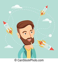Business start up vector illustration. - Caucasian hipster...