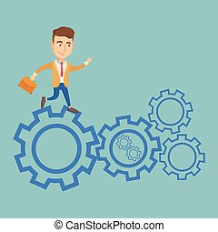 Business man running on cogwheels.