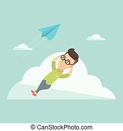 Business man lying on cloud vector illustration. - Business...