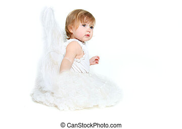 cute angel girl over white