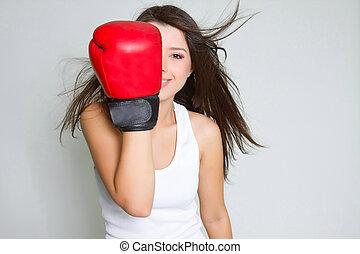 joven, sonriente, hembra, Boxeador