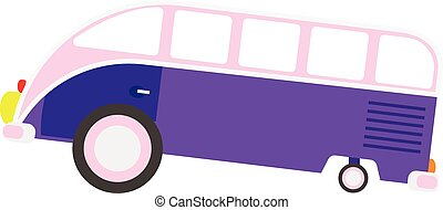 Colorful cartoon travel bus. Surfing retro buses in...