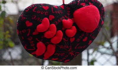 """Soft pillow in the shape of heart with the inscription """"I..."""