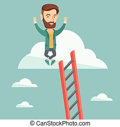 Happy business man sitting on the cloud. - Happy caucasian...