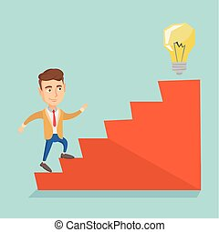 Business man walking upstairs to the idea bulb. - Caucasian...