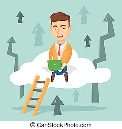 Business man sitting on cloud with laptop. - Caucasian...