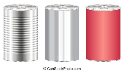 real stainless steel food can vector