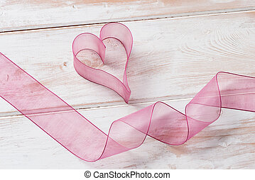 Organza Heart and Ribbon - Purple organza heart and twirling...