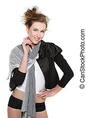 young fashionable woman over white