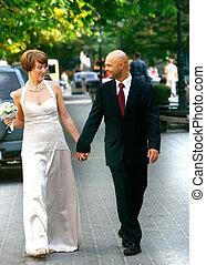 步行, 夫婦, 他們, 婚禮, 天, 愉快