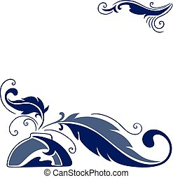 Vector Sketch with Feather and Inkstand
