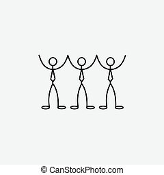 Cartoon icons of sketch stick business figures in cute...