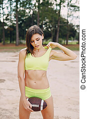beautiful sporty girl - young and beautiful girl athlete...
