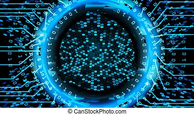 Future Technology Cyber Concept Background. Abstract Security Print. Blue Electronic Network. Digital System Design. Vector Illustration