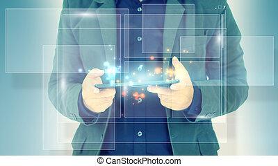 概念, 技術, 事務, 工作, 實際上, 屏幕, 事務, 人