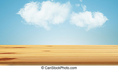 top wood table with blue sky background