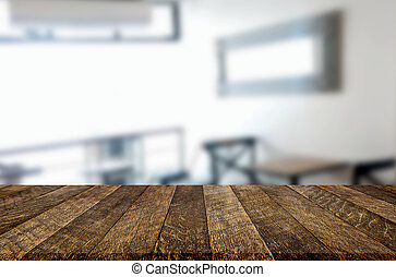 Selected focus empty brown wooden table and Coffee shop or...
