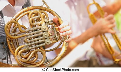 Musician playing trumpet - Musicians playing trumpet in the...