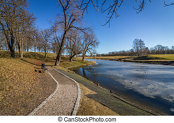 The Old Town in Fredrikstad, Norway - The moat at Old Town...